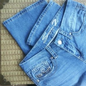 Seven7 Boot Cut Jeans Sequined Blue Size 8